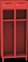 Dvouoddílová kovová šatní skrín pro hasice s uzamykatelnou schránkou