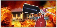 Požár domu s hasicím přístrojem