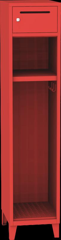 Jednooddílová kovová šatní skrín pro hasice s uzamykatelnou schránkou