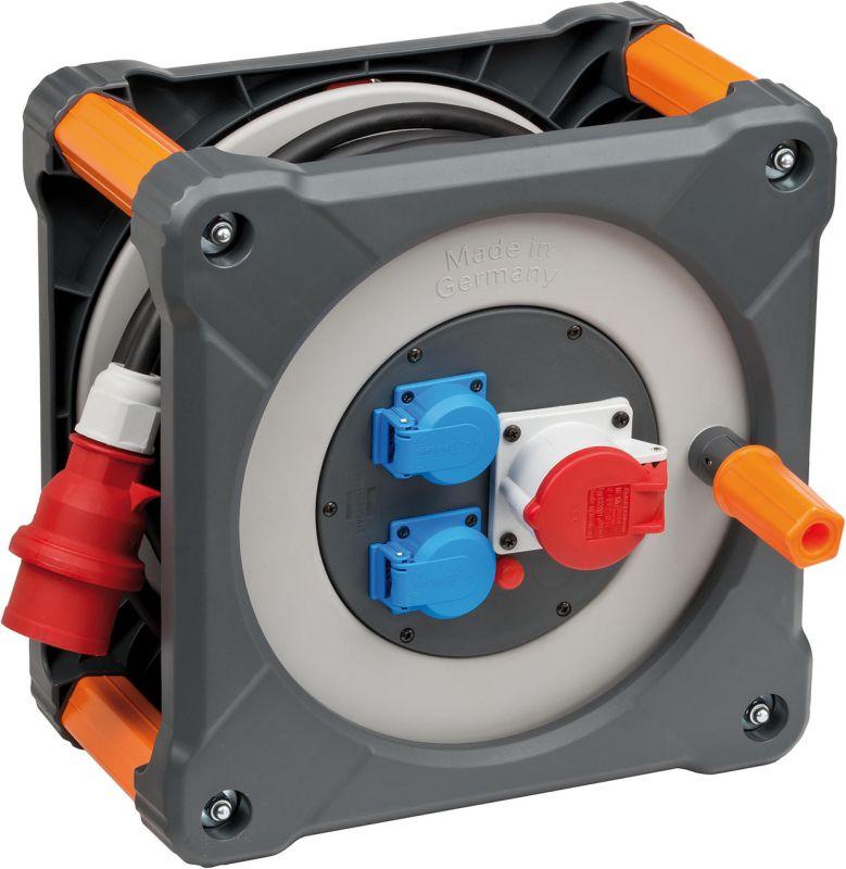 Kabelový buben ctvercový 1x400V + 2x 230V, 20m, neopren 2,5