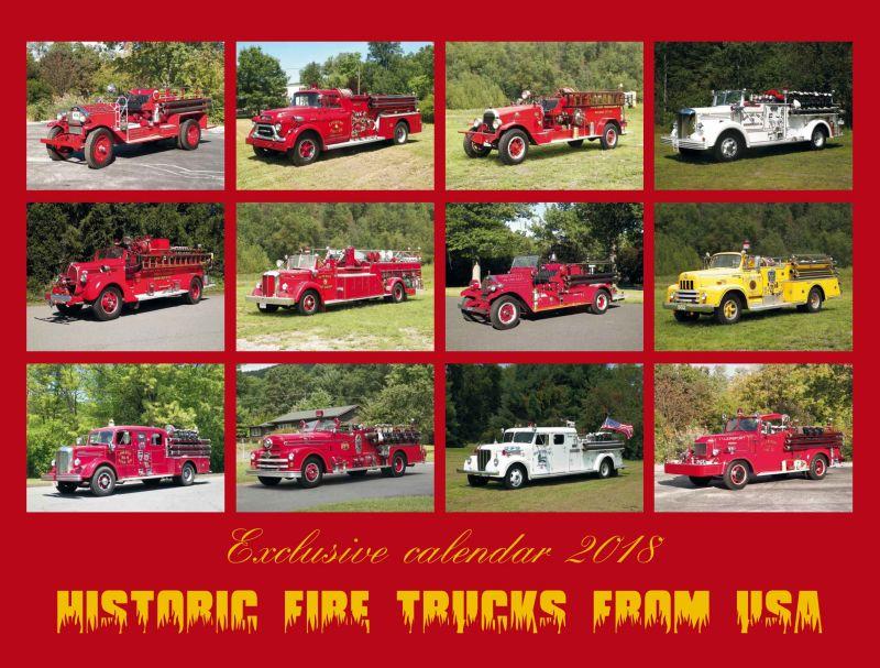 Kalendář USA FIRE TRUCKS 2018 - luxusní kalendář s historickými vozy