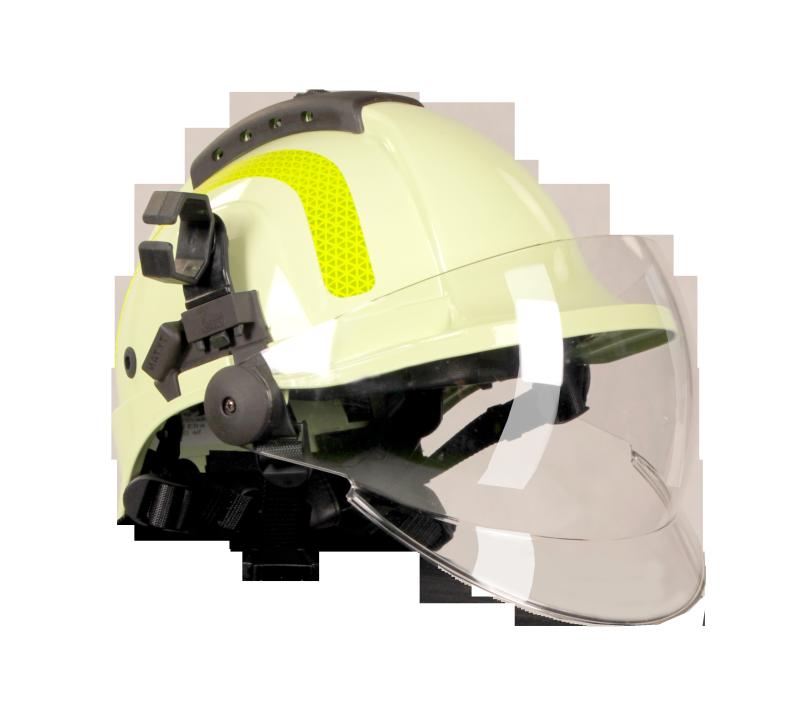Pracovní přilba pro hasiče TYTAN HOT, celoobličejový štít, žlutozelená