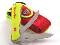 Victorinox RESCUE TOOL s pouzdrem - Nošení nože v zásahovém oděvu je možné buď v kapse zásahového kabátu Fireman, nebo v originálním pouzdře na hasičském opasku, na opasku kalhot PS II, nebo (díky dostatečně dimenzovaném oku originálního pouzdra) na zásahovém hasičském opasku (ochranném polohovacím pásu). Pouzdro umožňuje pohodlné nošení nože.
